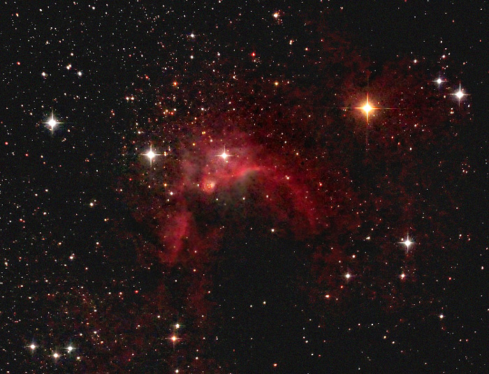 Cave nebula (Sh 2-155) mag ?; size 50'; Canon 60Da; exp: 35-min (35x60s @ISO3200; guided; Orion 10 @f/3.9; 9-16-12; Cherry Springs