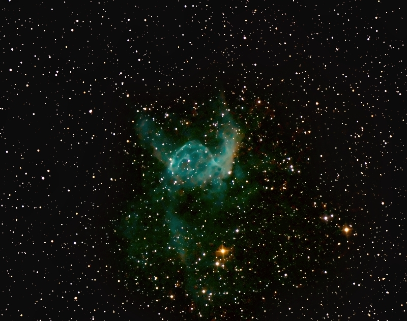 NGC2359; mag unknown; size 10'; exp: 60-min(60x60s); 550D @ISO3200; Orion 10 @f/3.9; 1-24-12; Pemberton Lake